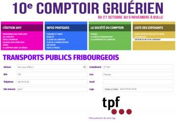 Le site Internet du Comptoir Gruyérien 2017